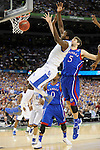 2 APR 2012: Forward Michael Kidd-Gilchrist (14) from the University of Kentucky looses control of the ball during the Championship Game of the 2012 NCAA Men's Division I Basketball Championship Final Four held at the Mercedes-Benz Superdome hosted by Tulane University in New Orleans, LA. Kentucky defeated Kansas 67-59 to claim the championship title. Ryan McKeee/ NCAA Photos.