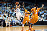 11 November 2013: North Carolina's Latifah Coleman (left) shoot over Tennessee's Ariel Massengale (5) and Jasmine Jones (right). The University of North Carolina Tar Heels played the University of Tennessee Lady Vols in an NCAA Division I women's basketball game at Carmichael Arena in Chapel Hill, North Carolina. Tennessee won the game 81-65.