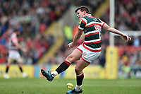 Freddie Burns of Leicester Tigers kicks for the posts. Aviva Premiership match, between Leicester Tigers and Sale Sharks on April 29, 2017 at Welford Road in Leicester, England. Photo by: Patrick Khachfe / JMP