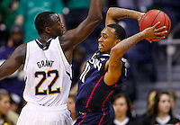 SOUTH BEND, IN - JANUARY 12: Jerian Grant #22 of the Notre Dame Fighting Irish applies defense as Ryan Boatright #11 of the Connecticut Huskies looks for an outlet to pass to at Purcel Pavilion on January 12, 2012 in South Bend, Indiana. Connecticut defeated Notre Dame 65-58. (Photo by Michael Hickey/Getty Images) *** Local Caption *** Jerian Grant; Ryan Boatright