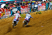 Gannon Audette and Malcom Stewart battle it out during the first moto of the 250 class at the Lucas Oil AMA Pro Motocross at Budds Creek National in Mechanicsville, Maryland on Saturday, June 18, 2011. Alan P. Santos/DC Sports Box
