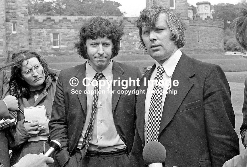 Glenn Barr, chairman (right), and Jim Smyth, press officer, both of the Ulster Workers' Council, speak to the media after their meeting with Merlyn Rees, Secretary of State for N Ireland. 197408070434-8a<br />