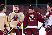 Austin Cangelosi (BC - 9), Christopher Brown (BC - 10), JD Dudek (BC - 15), Michael Kim (BC - 4) - The Boston College Eagles practiced at Fenway on Friday, January 6, 2017, in Boston, Massachusetts.