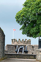 Londonderry, Derry, Northern Ireland, United Kingdom, May 2011. The ?union Jack flag flies over the city walls artillery.  Londonderry, also known as Derry is the only remaining completely walled city in Ireland and one of the finest examples of Walled Cities in Europe. For decades travellers stayed away from the sectarian violence, but since the end of 'The Troubles' more and more people start discoving the beauty of Belfast and the Antrim Coast Causeway. Photo by Frits Meyst/Adventure4ever.com
