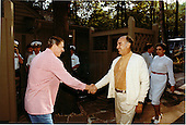 United States President Ronald Reagan meets President Jose Lopez Portillo of Mexico before the evening barbecue at Camp David, near Thurmont, Maryland on Monday, June 8, 1981..Mandatory Credit: Michael Evans - White House via CNP