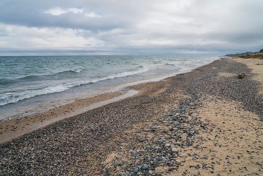 A wild Lake Superior beach on Michigan's Upper Peninsula.