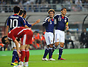 (R-L) Makoto Hasebe, Yuichi Komano (JPN),.OCTOBER 11, 2011 - Football / Soccer :.Yuichi Komano of Japan celebrates with his teammate Makoto Hasebe after scoring their third goal during the 2014 FIFA World Cup Asian Qualifiers Third round Group C match between Japan 8-0 Tajikistan at Nagai Stadium in Osaka, Japan. (Photo by Takahisa Hirano/AFLO)