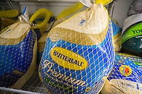 Butterball brand frozen Turkeys for sale in a supermarket in New York on Saturday, November 19, 2016. (© Richard B. Levine)