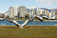 Freezing Water stainless steel sculpture by Jun Ren,  Vanier Park, Vancouver, British Columbia, Canada