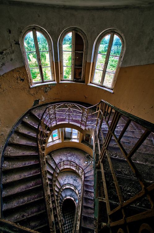 Abandoned hospital in East Germany with stairwell