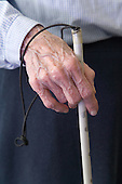 A man with his white stick at the Nottingham Royal Society for the Blind ,NRSB,. MR