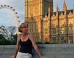 United Kingdom, Great Britain, England, London. Woman alone near London attractions.