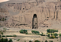 A view from the airport of the first damage made by the Taleban on the face of the Bamiyan Buddha of 54 meters high, in 1999..These magnificent colossal statues, created during the 3rdâ4th centuries A.D., attracted pilgrims for centuries, far beyond the time when Buddhism languished in India following the disastrous visitation of the Hephthalite Huns in the 5th century, the subsequent resurgence of Hinduism, and the arrival of iconoclastic Islam in the 7th century..The entire niche was once covered with paintings dating from i he late 5th to the early 7th centuries.
