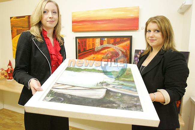 Liz Lodge and Gill McCullogh at the art exhibation in Mornington..Photo: Fran Caffrey/ Newsfile.<br />
