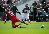 17 September 2011: Colorado Rapids midfielder Sanna Nyassi #23 and Toronto FC midfielder Torsten Frings #22 in action during a game between the Colorado Rapids and Toronto FC at BMO Field in Toronto..Toronto FC won 2-1.