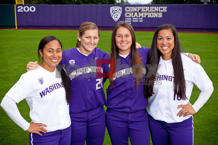 Juniors Jerrin Faasua, left, Lindsay Monk, Shawna Wright and Hooch Fagaly -- 2011-12 University of Washington Huskies softball team at Husky Softball Stadium in Seattle Wednesday, Sept. 14, 2011. (Photo by Andy Rogers/Red Box Pictures)