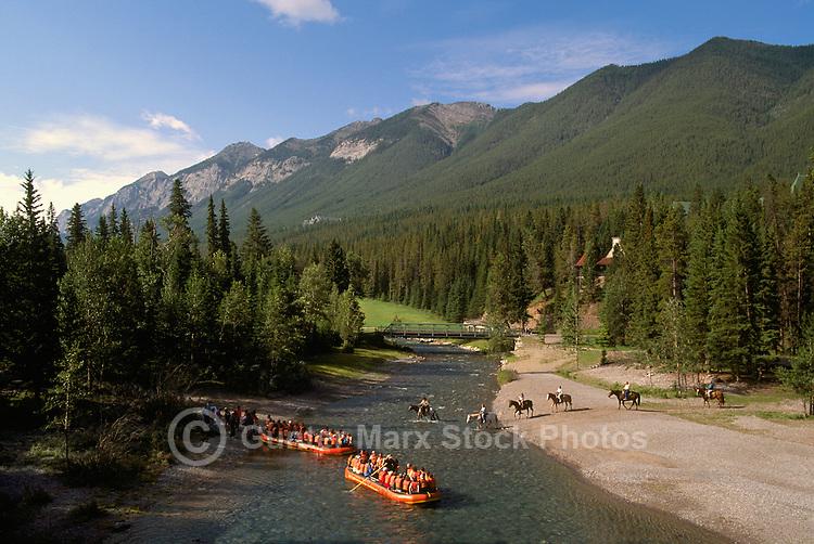 Banff National Park, Canadian Rockies, AB, Alberta, Canada - Spray River, Rafting and Horseback Riding, Rocky Mountains, Summer