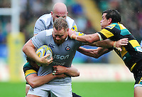 Ross Batty of Bath Rugby takes on the Northampton Saints defence. Aviva Premiership match, between Northampton Saints and Bath Rugby on September 3, 2016 at Franklin's Gardens in Northampton, England. Photo by: Patrick Khachfe / Onside Images