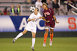 07 November 2008: Virginia's Sarah Senty (2) and Virginia Tech's Julian Johnson (9). The University of Virginia and Virginia Tech played to a 1-1 tie after 2 overtimes at WakeMed Stadium at WakeMed Soccer Park in Cary, NC in a women's ACC tournament semifinal game.  Virginia Tech advanced to the final on penalty kicks, 2-1.