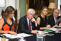 02/04/2015<br /> (L to R ) <br /> Amanda Byram host of Pride of Ireland Awards, <br /> Prof paddy Broe Clinical Director &amp; Past President Royal College of Surgeons in Ireland, <br /> Vogue Williams Model, DJ &amp; Presenter <br /> Assistant Garda Commisioner Derek Byrne <br /> during the Pride of Ireland judging day in the Mansion House, Dublin.<br /> Photo:  Gareth Chaney Collins