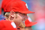 10 March 2012: Washington Nationals' pitcher Stephen Strasburg smiles from the dugout during a game against the New York Mets at Space Coast Stadium in Viera, Florida. The Nationals defeated the Mets 8-2 in Grapefruit League play. Mandatory Credit: Ed Wolfstein Photo