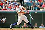 14 September 2008: Cleveland Indians' first baseman Ryan Garko gets an RBI single in the first inning to drive in Cleveland's third run against the Kansas City Royals at Progressive Field in Cleveland, Ohio. The Royal defeated the Indians 13-3 to take the 4-game series three games to one...Mandatory Photo Credit: Ed Wolfstein Photo