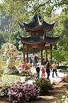 Visitors at the Chinese Garden at the Huntington Gardens in Pasadena, CA