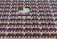 Rows of identical houses with a playground seen in the middle in the city of Jiangyin. /Felix Features