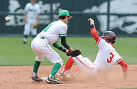 NWA Democrat-Gazette/ANDY SHUPE<br /> Greenland second baseman Blake Hatch misplays the throw from the plate as Harding Academy center fielder Dalton Koch safely steals second base Friday, May 19, 2017, during the Class 3A state championship game at Baum Stadium in Fayetteville. Visit nwadg.com/photos to see more photographs from the game.