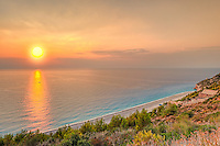 The sunset at the beach Mylos in Lefkada, Greece
