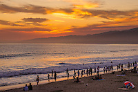 Beach sunset, Santa Monica, California