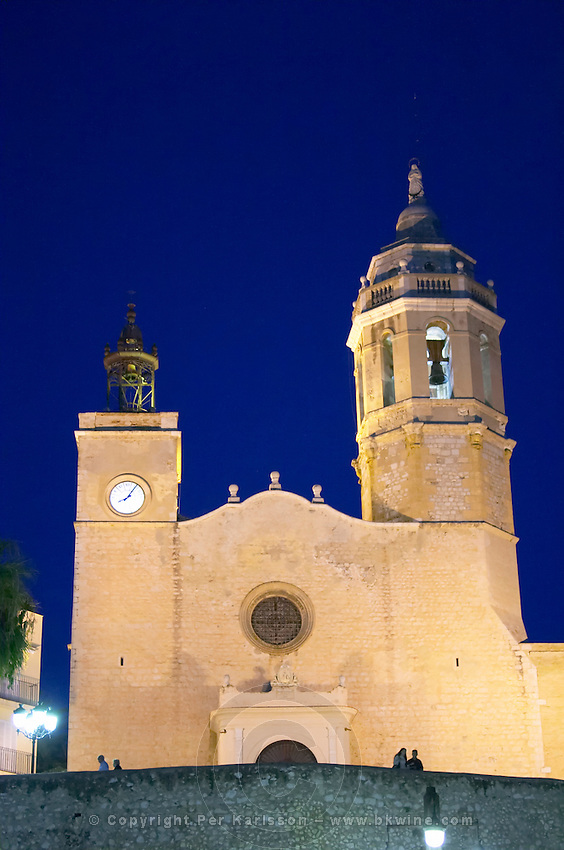 San Barthomieu i Santa Tecla church. At night. Sitges, Catalonia, Spain