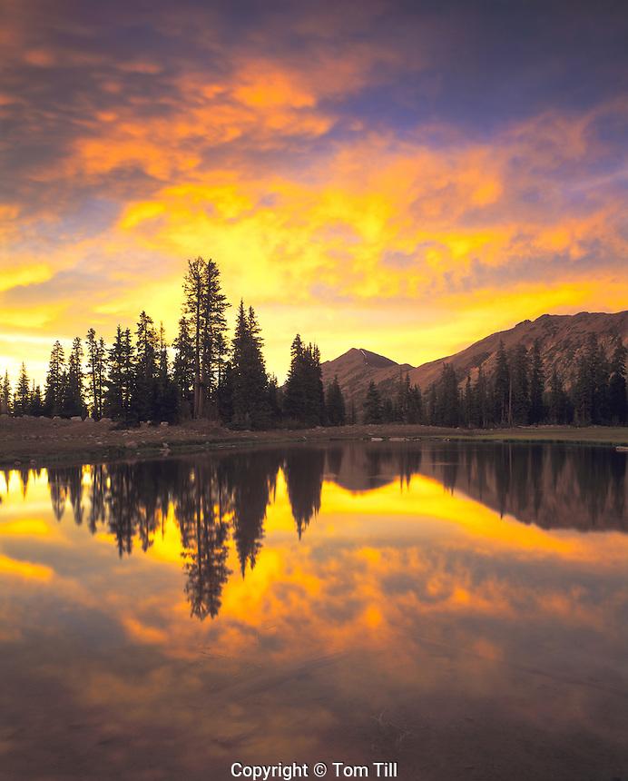 Sunset & Alpine Pond, High Uintas Wilderness, Utah   Ashley National Forest