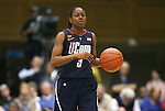 30 January 2012: Connecticut's Tiffany Hayes. The Duke University Blue Devils played the University of Connecticut Huskies at Cameron Indoor Stadium in Durham, North Carolina in an NCAA Division I Women's basketball game.