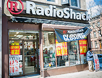 A RadioShack store in the Park Slope neighborhood of Brooklyn in New York in Sunday, March 19, 2017 . After filing a second time for Chapter 11 bankruptcy protection RadioShack will close 552 stores, roughly 36% of its locations. (© Richard B. Levine)
