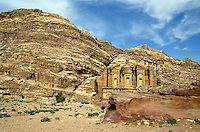 Facade of Ad Deir, an ancient rock-cut monastery in Petra, Jordan.