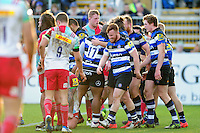 Max Clark of Bath Rugby celebrates his second half try with team-mates. Aviva Premiership match, between Bath Rugby and Harlequins on February 18, 2017 at the Recreation Ground in Bath, England. Photo by: Patrick Khachfe / Onside Images