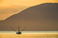 Commercial fishing trolling vessel in the Sitka Channel, Baranof Island, southeast Alaska.