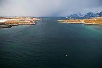 View from Bridge to waters of Selfjord between islands of Moskenesøya and flakstadoya, near Fredvang, Lofoten islands, Norway