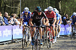 The peloton led by Gianni Moscon (ITA) Team Sky tackle the famous cobbled climb of Kemmelberg during Gent-Wevelgem in Flanders Fields 2017 running 249km from Denieze to Wevelgem, Flanders, Belgium. 26th March 2017.<br /> Picture: Eoin Clarke | Cyclefile<br /> <br /> <br /> All photos usage must carry mandatory copyright credit (&copy; Cyclefile | Eoin Clarke)