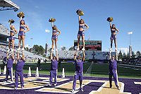 2013-09-21: Washington cheerleaders entertained fans during the game  against Idaho State.  Washington won 56-0 over Idaho State in Seattle, WA.