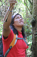 Quichua guide Rawje in jungle near Rio Napo in eastern Ecuador.