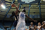 14 November 2012: North Carolina's Waltiea Rolle (32) blocks a shot by Georgetown's Sydney Wilson (13). The University of North Carolina Tar Heels played the Georgetown University Hoyas at Carmichael Arena in Chapel Hill, North Carolina in an NCAA Division I Women's Basketball game, and a semifinal in the Preseason WNIT. UNC won the game 63-48.