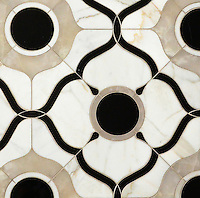 Wesley Petite, a waterjet mosaic shown in polished White Onyx, Calacatta and Nero Marquina, is part of the Aurora™ Collection by Sara Baldwin for New Ravenna.