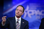 National Harbor, MD - February 23, 2017: White House Chief of Staff Reince Priebus participates in a discussion with Steve Bannon during the Conservative Political Action Conference at the Gaylord Hotel in National Harbor, MD, February 23, 2017,   (Photo by Don Baxter/Media Images International)
