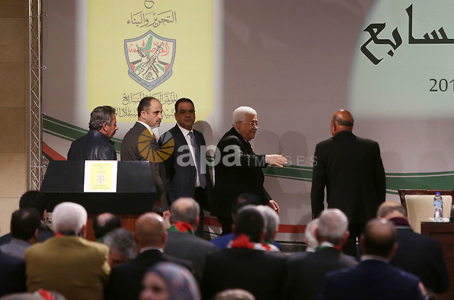 Palestinian president Mahmud Abbas arrives for the opening ceremony of the 7th Fatah Congress on November 29, 2016, at the Muqataa, the Palestinian Authority headquarters, in the West Bank city of Ramallah. Abbas's Fatah re-elected him party head as the movement opened its first congress since 2009 with talk mounting of who will eventually succeed the 81-year-old. Photo by Shadi Hatem