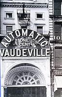 Movie Theatres: NY--One Cent Vaudeville, 14th St., Circa 1900. SCHOENER, p. 140.