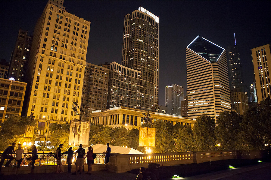 Nighttime views of landmark buildings surrounding Millennium Park, Chicago, Illinois, USA