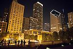 Nighttime views of landmark buildings surrounding Millennium Park, Chicago, Illinois, USA