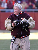 Nov 27, 2010; Charlottesville, VA, USA;  Virginia tech Frank Beamer during the game at Lane Stadium. Virginia Tech won 37-7. Mandatory Credit: Andrew Shurtleff